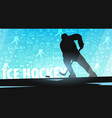 hockey banner with player and doodle elements on vector image