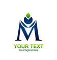 Initial letter m logo template colored blue green
