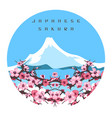 japanese sakura and fuji colorful banner vector image vector image