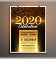 lovely golden 2020 new year party flyer template vector image vector image