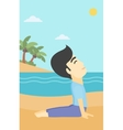 Man practicing yoga upward dog pose on the beach vector image vector image