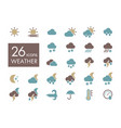 meteorology weather flat icons set vector image