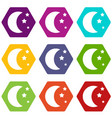 moon and stars icon set color hexahedron vector image vector image