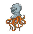 octopus tentacles in knight helmet sketch vector image