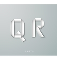 Paper Origami alphabet Q R with shadows vector image vector image