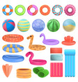 pool equipment icons set cartoon style vector image