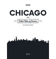 poster city skyline chicago flat style vector image vector image