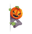 pumpkin jack lantern cartoon support help vector image vector image