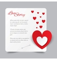 Red paper heart Valentines day card Love story vector image