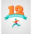 Running marathon people run colorful poster vector image vector image
