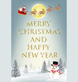 santa claus and snowman on christmas winter hill vector image vector image