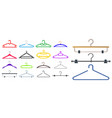 set clothes hangers or clothes hangers isolated vector image vector image