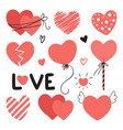 set of different hearts with lettering for vector image vector image