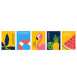 set of summer pictures vector image