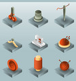 sewing color gradient isometric icons vector image