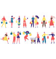 shopping characters men and women carrying vector image vector image