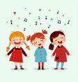 three little girl singing a song vector image vector image