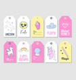 unicorn kids tags collection for family party vector image vector image