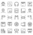 video game outline icons set pc console vector image vector image
