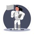 woman cosmonaut standing with flag vector image vector image