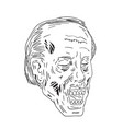 zombie head eyes closed drawing vector image