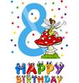 eighth birthday cartoon design vector image