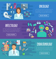 medical banner set of doctor with healthcare icons vector image