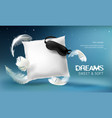 3d realistic white pillow vector image