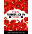 11 november remembrance day poppy card vector image vector image