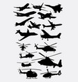 airplane and helicopter transportation silhouettes vector image vector image