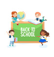 back to school concept boys and girls with globe vector image vector image