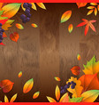 background with wooden board and autumn leaves vector image vector image