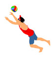 beach volleyball player man play volleyball vector image