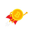 bitcoin superhero in a red cloak in flying vector image vector image