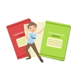 Boy In School Uniform With Two Giant Notebooks vector image vector image