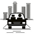 car sedan with driver vehicle icon vector image