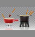 cheese chocolate fondue realistic icon set vector image