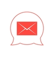 closed red envelope in double speech bubble vector image vector image