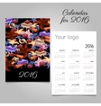 Colorful calendar 2016 with image of marine life vector image vector image