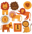 cute lions set design elements can be used for t vector image vector image