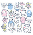 cute monsters colorful doodles vector image vector image