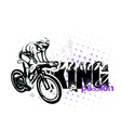 cycling on grungy background vector image vector image