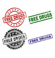 damaged textured free drugs seal stamps vector image vector image