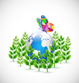 Earth envelop by green plants symbol and butterfly vector image vector image