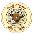 Ecological Farming Milk and Butter label vector image vector image