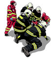 firefighters and rescuers vector image vector image