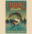 fishing vintage colorful poster vector image vector image