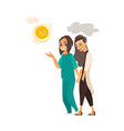 flat doctor showing sun to mental patient vector image vector image