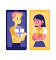 flat man woman present smartphone vector image