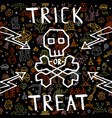 greeting card happy halloween with doodle vector image vector image